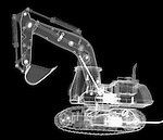 X-ray image of an excavator (white on black) by Jim Wehtje, specialist in x-ray art and design images.