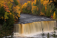 Upper Tahquamenon Falls with fall color in Tahquamenon Falls State Park near Newberry Michigan.