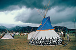 Several teepees setup around Stanley Park  at the Mountain Man Rendezvous in Estes Park, Colorado, USA