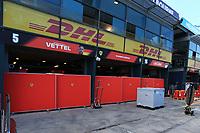 11th March 2020; Albert Park, Melbourne, Australia; Formula 1 Australia Grand Prix, setup day; Scuderia Ferrari garage with covers on