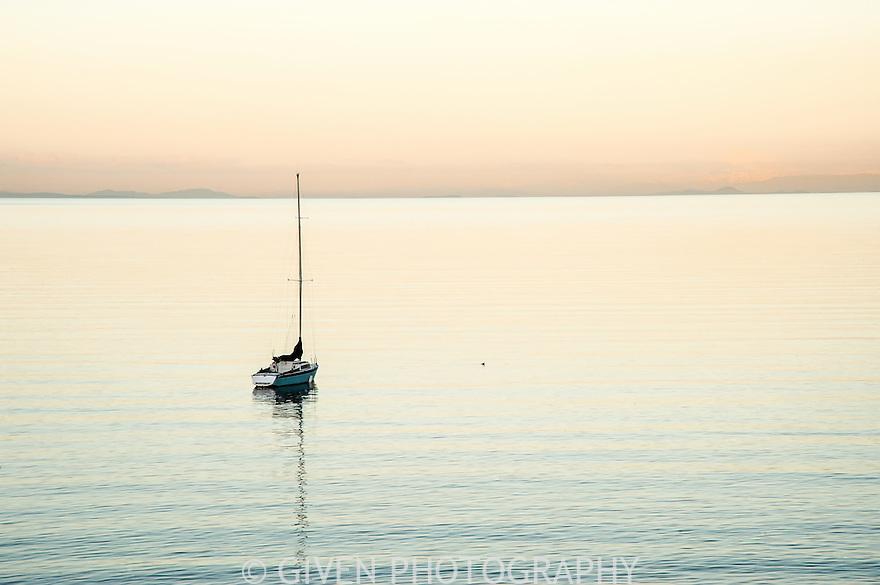 Sailboat at dusk, Washington