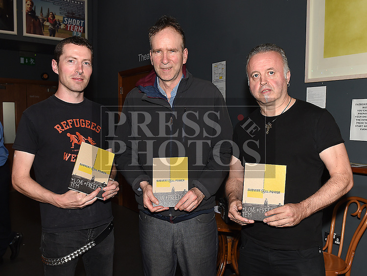 Seamus Nolan who compiled the book Subvert All Power a history of Punk in Drogheda with  contributors Paddy Dillon and Mick Reid at its launch in The Droichead Arts Centre. Photo:Colin Bell/pressphotos.ie