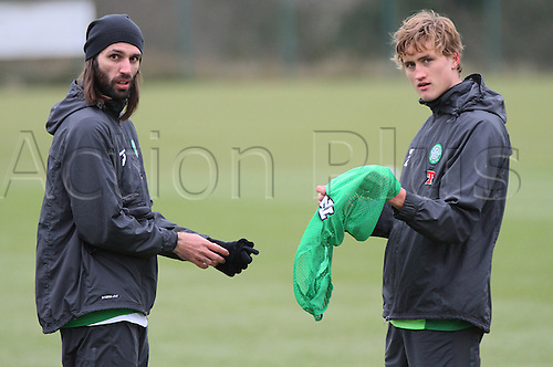 22.02.2013 Lennoxtown, Scotland. Thomas Rogne and Georgios Samaras during the Celtic Training session ahead of their game with Dundee on Sunday.