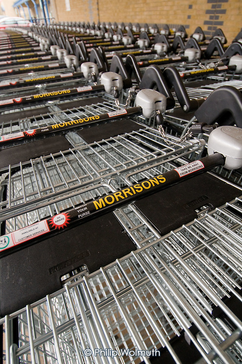 Shopping trolleys outside a Morrisons supermarket store, London