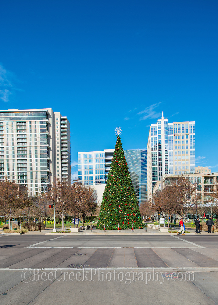 Christmas tree in downtown Dallas at the Klyde Warren Park.  This urban park has jogging trails and open area to throw balls, to do yoga, along with a children play area along with plenty of food trucks.