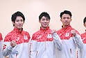 (L-R) Ryohei Kato, Kohei Uchimura, Yusuke Tanaka (JPN), <br /> JULY 19, 2016 - Artistic Gymnastics : <br /> Japan Men's Artistic Gymnastics national team send-off press conference <br /> for the Rio 2016 Olympic Games in Tokyo, Japan. <br /> (Photo by AFLO SPORT)