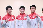 (L-R) Ryohei Kato, Kohei Uchimura, Yusuke Tanaka (JPN), <br /> JULY 19, 2016 - Artistic Gymnastics : <br /> Japan Men's Artistic Gymnastics national team send-off press conference <br /> for the Rio 2016 Olympic Games in Tokyo, Japan. <br /> (Photo by AFLO SPORT)