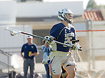 Tustin, CA 04/23/16 - Crew Taylor {La Costa Canyon #25) in action during the non-conference CIF varsity lacrosse game between La Costa Canyon and Foothill at Tustin Union High School.  Foothill defeated La Costa Canyon 10-9 in sudden death overtime.