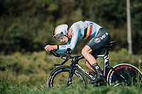 Brent Van Moer (BEL) on his way to a silver medal<br /> <br /> MEN UNDER 23 INDIVIDUAL TIME TRIAL<br /> Hall-Wattens to Innsbruck: 27.8 km<br /> <br /> UCI 2018 Road World Championships<br /> Innsbruck - Tirol / Austria