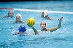 INDIANAPOLIS, IN - MAY 14: Jamie Neushul (8) of Stanford University defends Bronte Halligan (25) of UCLA during the Division I Women's Water Polo Championship held at the IU Natatorium-IUPUI Campus on May 14, 2017 in Indianapolis, Indiana. Stanford edges UCLA, 8-7, to win fifth women's water polo title in the past seven years. (Photo by Joe Robbins/NCAA Photos/NCAA Photos via Getty Images)