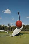 Minnesota, Twin Cities, Minneapolis-Saint Paul: Sculpture Spoonbridge and Cherry by Claes Oldenburg at the Minnesota Sculpture Garden next to the Walker Art Center..Photo mnqual204-75228..Photo copyright Lee Foster, www.fostertravel.com, 510-549-2202, lee@fostertravel.com.