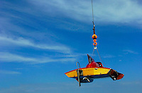 "The Lauterbach hydroplane ""Gemini"" is craned into the water."