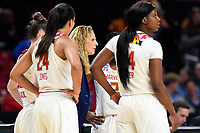 College Park, MD - March 23, 2019: Maryland Terrapins head coach Brenda Frese talks to her team during a timeout of first round action of game between Radford and Maryland at Xfinity Center in College Park, MD. Maryland defeated Radford 73-51. (Photo by Phil Peters/Media Images International)