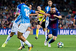 Lionel Andres Messi (r) of FC Barcelona fights for the ball with Luis Hernandez Rodriguez (c) of Malaga CF  during the La Liga 2017-18 match between FC Barcelona and Malaga CF at Camp Nou on 21 October 2017 in Barcelona, Spain. Photo by Vicens Gimenez / Power Sport Images