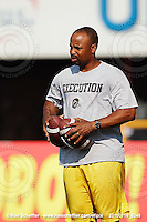 July 16, 2010; Hamilton, Ontario, Canada; Hamilton Tiger-Cats quarterbacks coach Khari Jones. CFL football: Winnipeg Blue Bombers vs. Hamilton Tiger-Cats at Ivor Wynne Stadium. The Tiger-Cats defeated the Blue Bombers 28-7. Mandatory Credit: Ron Scheffler. Copyright (c) 2010 Ron Scheffler.