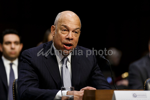 Former Secretary of Homeland Security Jeh Johnson testifies during a United States Senate Intelligence Committee hearing regarding election security on Capitol Hill in Washington, D.C. on March 21, 2018. Photo Credit: Alex Edelman/CNP/AdMedia