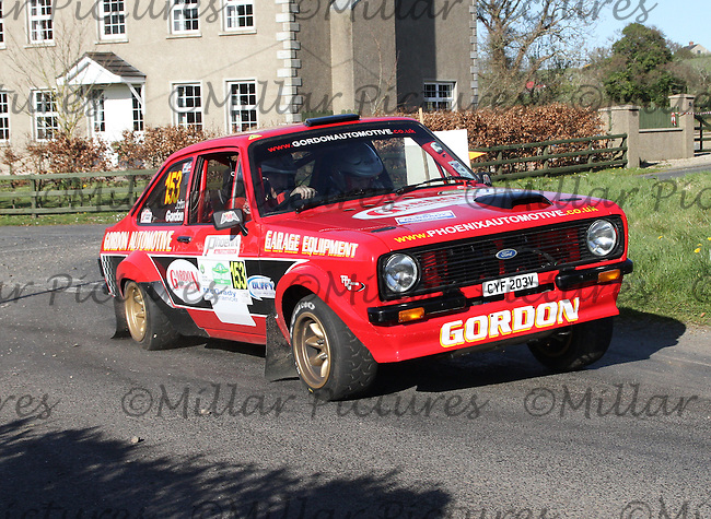 John Gordon - Thomas Wedlock in a Ford Escort Mk 2 at Junction 11 on Special Stage 6 Bucks Head on the Discover Northern Ireland Circuit of Ireland Rally which was a constituent round of  the FIA European Rally Championship, the FIA Junior European Rally Championship, the Clonakilty Irish Tarmac Rally Championship, and the MSA ANICC Northern Ireland Stage Rally Championships which took place on 18.4.14 and 19.4.14 and was based in Belfast.