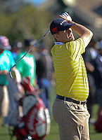 160210 Coach Jim Harbaugh during the Wednesday Shootout at The AT&T National Pro Am at The Pebble Beach Golf Links in Monterey, California. (photo credit : kenneth e. dennis/kendennisphoto.com)