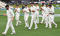 2nd December, Hamilton, New Zealand; Kane Williamson and team mates congratulate Wagner on his 5 wickets on day 4 of the 2nd test cricket match between New Zealand and England  at Seddon Park, Hamilton, New Zealand.