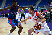 7th September 2017, Fenerbahce Arena, Istanbul, Turkey; FIBA Eurobasket Group D; Russia versus Great Britain; Shooting Guard Vitaly Fridzon #7 of Russia in action against Shooting Guard Kyle Johnson #1 of Great Britain during the match