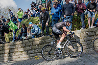 Luke Rowe (GBR/SKY) up the infamous Muur van Geraardsbergen (1100m/7.6%) that is back in the parcours after a 5 year hiatus<br /> <br /> 101th Ronde Van Vlaanderen 2017 (1.UWT)<br /> 1day race: Antwerp › Oudenaarde - BEL (260km)