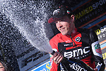 Rohan Dennis (AUS) BMC Racing Team sprays the bubbly after winning Stage 7 of the 2017 Tirreno Adriatico a 10km Individual Time Trial at San Benedetto del Tronto, Italy. 14th March 2017.<br /> Picture: La Presse/Gian Mattia D'Alberto | Cyclefile<br /> <br /> <br /> All photos usage must carry mandatory copyright credit (&copy; Cyclefile | La Presse)