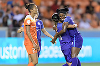 Houston, TX - Saturday June 17, 2017: Jasmyne Spencer celebrates Marta Vieira Da Silva's goal during a regular season National Women's Soccer League (NWSL) match between the Houston Dash and the Orlando Pride at BBVA Compass Stadium.