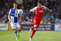 Billy Bodin of Bristol Rovers and Bobby Grant of Fleetwood Town during the Sky Bet League 1 match between Bristol Rovers and Fleetwood Town at the Memorial Stadium, Bristol, England on 26 August 2017. Photo by Mark  Hawkins.