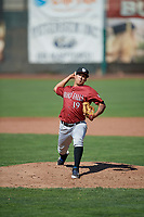 Idaho Falls Chukars starting pitcher Andres Sotillet (19) delivers a pitch to the plate against the Ogden Raptors in Pioneer League action at Lindquist Field on July 2, 2017 in Ogden, Utah. Ogden defeated Idaho Falls 6-5. (Stephen Smith/Four Seam Images)