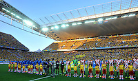 SAO PAULO - BRASIL -12-06-2014. Jugadores de Brasil y Croacia durante los  actos protocolarios previo al partido del Grupo A de la fase inicial jugado en el estadio Arena Corinthians en Sao Paulo por la Copa Mundial de la FIFA Brasil 2014./ Players of Brazil and Croatia during the formal events prior the match of Group A of the initial phase played at Arena Corinthians in Sao Paulo for the 2014 FIFA World Cup Brazil. Photo: VizzorImage / Alfredo Gutiérrez / Cont