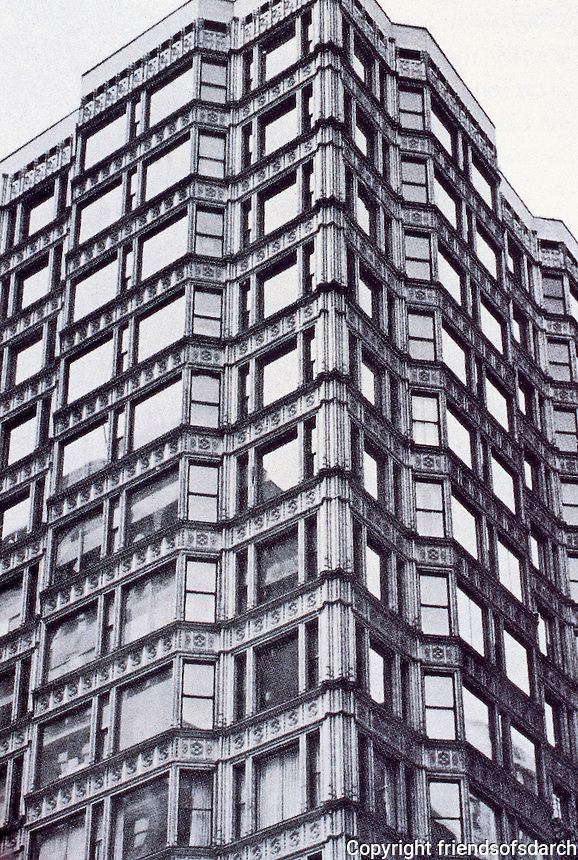 John Root of Burnam and Root: Reliance Building, Chicago. The first floor and basement were designed by John Root in 1890, with the rest of the building completed by Charles B. Atwood in 1895. First skyscraper with plate glass windows.