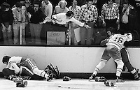 California Seals fighting, #4Bob Stewart and #16 Fred Ahern