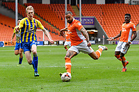 Blackpool's Kyle Vassell under pressure from Accrington Stanley's Omar Beckles<br /> <br /> Photographer Terry Donnelly/CameraSport<br /> <br /> The EFL Sky Bet League Two - Blackpool v Accrington Stanley - Friday 14th April 2017 - Bloomfield Road - Blackpool<br /> <br /> World Copyright &copy; 2017 CameraSport. All rights reserved. 43 Linden Ave. Countesthorpe. Leicester. England. LE8 5PG - Tel: +44 (0) 116 277 4147 - admin@camerasport.com - www.camerasport.com