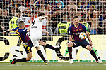 FC Barcelona's Jordi Alba (l) and Clement Lenglet (r) and Valencia CF's Kavin Gameiro during Spanish King's Cup Final match. May 25,2019. (ALTERPHOTOS/Carrusan)