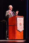 "Oct. 15, 2012 - Hempstead, New York, U.S. - Former White House Chief of Staff ERSKINE BOWLES (Democrat) speaks at Hofstra University about ?America's Debt and Deficit Crisis: Issues and Solutions.?  Also speaking was Simpson (not shown), his co-chairman of the National Commission on Fiscal Responsibility and Reform and co-leader of the Simpson-Bowles non-partisan U.S. fiscal debt reduction plan. This event was part of ""Debate 2012 Pride Politics and Policy"" a series of events leading up to when Hofstra hosts the 2nd Presidential Debate between Obama and M. Romney, the next night, October 16, 2012, in a Town Meeting format."