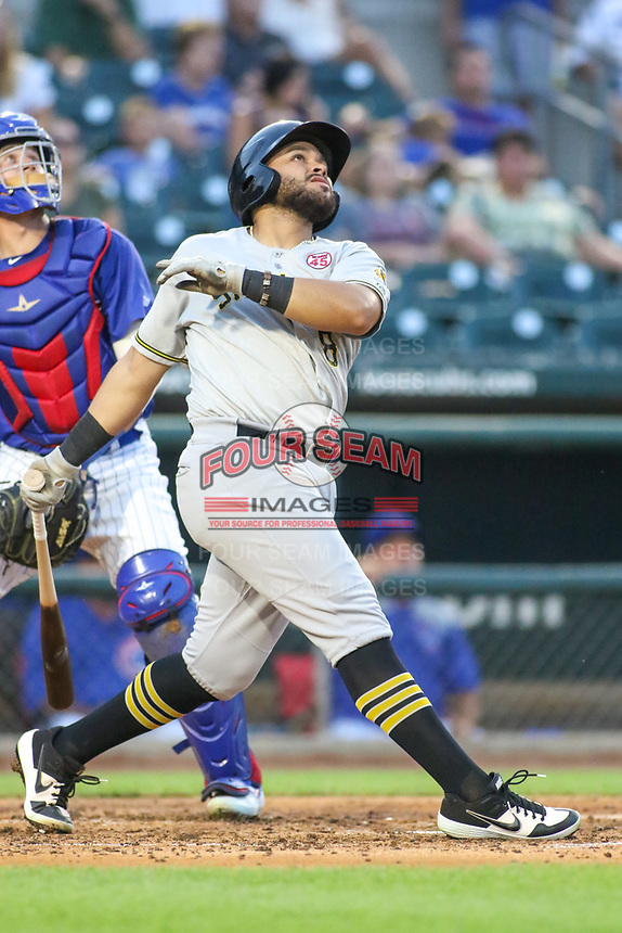Salt Lake Bees Jose Rojas (8) at bat during a Pacific Coast League game against the Iowa Cubs on August 10, 2019 at Principal Park in Des Moines, Iowa.  Iowa defeated Salt Lake 7-3.  (Travis Berg/Four Seam Images)
