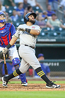 Salt Lake Bees Jose Rojas (8) at bat during a Pacific Coast League game against the Iowa Cubs on August 10, 2019 at Principal Park in Des Moines, Iowa.  Iowa defeated Salt Lake 7-3.  (Travis Berg/Four Seam Images)