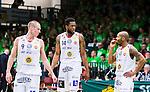 S&ouml;dert&auml;lje 2015-04-19 Basket SM-Final 1 S&ouml;dert&auml;lje Kings - Uppsala Basket :  <br /> Uppsalas  Rickard Eriksson , Dwight Anthony Burke och Thomas Jackson deppar  under matchen mellan S&ouml;dert&auml;lje Kings och Uppsala Basket <br /> (Foto: Kenta J&ouml;nsson) Nyckelord:  S&ouml;dert&auml;lje Kings SBBK T&auml;ljehallen Basketligan SM SM-Final Final Uppsala Basket depp besviken besvikelse sorg ledsen deppig nedst&auml;md uppgiven sad disappointment disappointed dejected