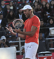 BOGOTA- COLOMBIA 23-07-2015: Ivo Karlovic de Croacia celebra la victoria sobre Daniel Galan of Colombia durante partido del Claro Open Colombia de Tenis en las canchas del Centro de Alto rendimiento en Altura en la ciudad de Bogota.   / Ivo Karlovic of Croatia celebrates the victory against Daniel Galan of Colombia during a match to the Claro Open Colombia of Tennis in the courts of the High Performance Center in Altura in Bobota City. Photo: VizzorImage / Luis Ramirez / Staff.