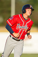 Jordan Edgerton (18) of the Danville Braves hustles towards third base against the Burlington Royals at Burlington Athletic Park on July 5, 2014 in Burlington, North Carolina.  The Royals defeated the Braves 5-4.  (Brian Westerholt/Four Seam Images)