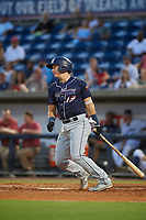 Jacksonville Jumbo Shrimp third baseman Brian Schales (13) follows through on a swing during a game against the Pensacola Blue Wahoos on August 15, 2018 at Blue Wahoos Stadium in Pensacola, Florida.  Jacksonville defeated Pensacola 9-2.  (Mike Janes/Four Seam Images)