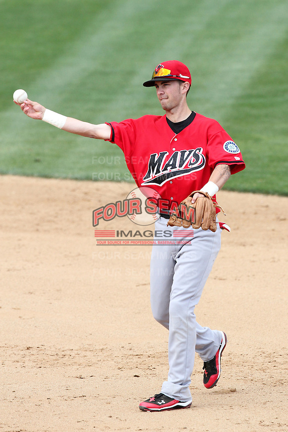 Nick Franklin #4 of the High Desert Mavericks makes a throw against the Rancho Cucamonga Quakes at The Epicenter in Rancho Cucamonga,California on May 8, 2011. Photo by Larry Goren/Four Seam Images