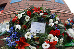 Wreath for the victims of the 1961 Ibrox disaster at the John Greig statue
