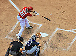 22 June 2014: Washington Nationals outfielder Jayson Werth connects against the Atlanta Braves at Nationals Park in Washington, DC. The Nationals defeated the Braves 4-1 to split their 4-game series and take sole possession of first place in the NL East. Mandatory Credit: Ed Wolfstein Photo