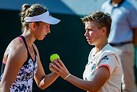 Paris, France, 31 May, 2018, Tennis, French Open, Roland Garros, Womans doubles: Elise Mertens (BEL) / Demi Schuurs (NED) (R)<br /> Photo: Henk Koster/tennisimages.com