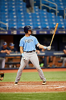 Dawson Dimon (15) at bat during the Tampa Bay Rays Instructional League Intrasquad World Series game on October 3, 2018 at the Tropicana Field in St. Petersburg, Florida.  (Mike Janes/Four Seam Images)