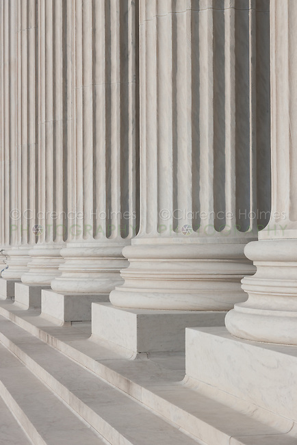 The columns and stairs of the Neoclassical US Supreme Court Building in Washington DC