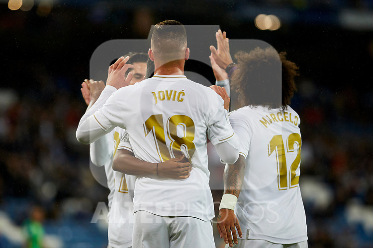 Luka Jovic of Real Madrid celebrates goal during La Liga match between Real Madrid and CD Leganes at Santiago Bernabeu Stadium in Madrid, Spain. October 30, 2019. (ALTERPHOTOS/A. Perez Meca)