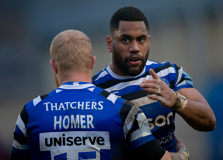 Bath's Joe Cokanasiga and Bath's Tom Homer at the end of the match<br /> <br /> Photographer Bob Bradford/CameraSport<br /> <br /> Gallagher Premiership - Bath Rugby v Newcastle Falcons - Saturday 16th February 2019 - The Recreation Ground - Bath<br /> <br /> World Copyright © 2019 CameraSport. All rights reserved. 43 Linden Ave. Countesthorpe. Leicester. England. LE8 5PG - Tel: +44 (0) 116 277 4147 - admin@camerasport.com - www.camerasport.com