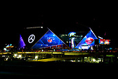 3rd February 2019, Atlanta Georgia, USA; NFL Superbowl LIII, New Eng;land Patriots versus Los Angeles Rams;  A general view of The Mercedes-Benz Stadium on Saturday night before the game during Super Bowl LIII day on February 3rd, 2019 in Atlanta GA.